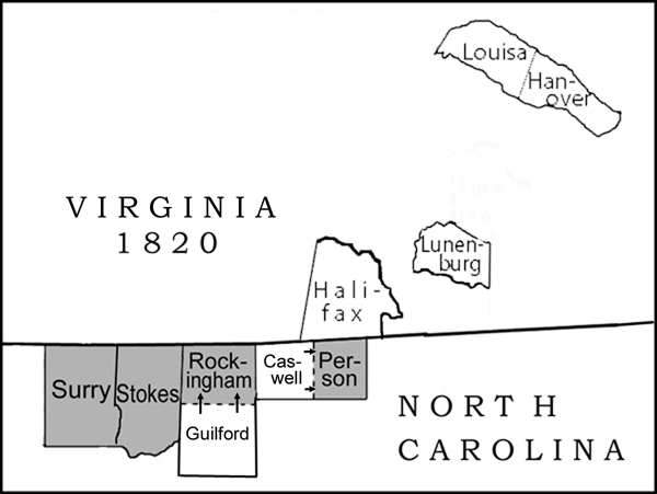 VA and NC Counties, 1820